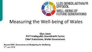 Measuring the Wellbeing of Wales Glyn Jones Prif