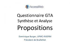 Questionnaire GTA Synthse et Analyse Propositions Dominique Burger