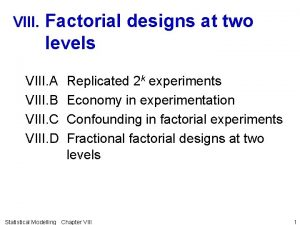 VIII Factorial designs at two levels VIII A
