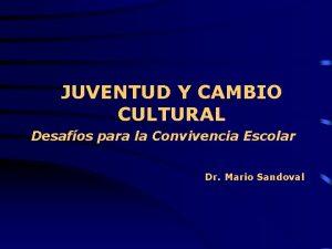 JUVENTUD Y CAMBIO CULTURAL Desafos para la Convivencia