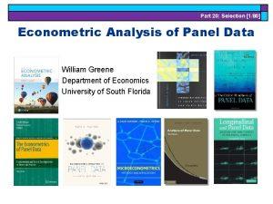 Part 20 Selection 180 Econometric Analysis of Panel