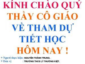 KNH CHO QU THY C GIO V THAM