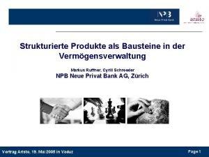 Strukturierte Produkte als Bausteine in der Vermgensverwaltung Markus