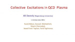 Collective Excitations in QCD Plasma Ali Davody Regensburg