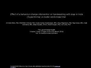 Effect of a behaviourchange intervention on handwashing with