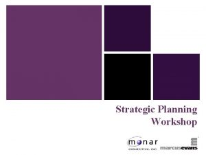 Strategic Planning Workshop Strategic Planning Session One Part