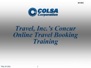 1032011 Travel Inc s Concur Online Travel Booking