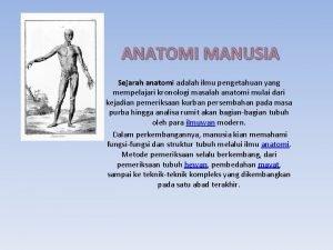 ANATOMI MANUSIA Sejarah anatomi adalah ilmu pengetahuan yang