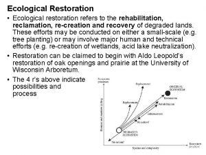 Ecological Restoration Ecological restoration refers to the rehabilitation