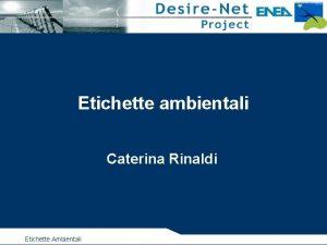 Etichette ambientali Caterina Rinaldi Etichette Ambientali OBIETTIVI del