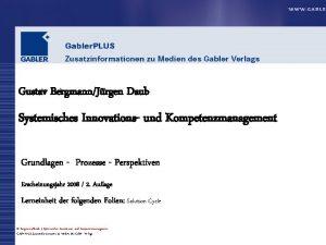 Gustav BergmannJrgen Daub Systemisches Innovations und Kompetenzmanagement Grundlagen
