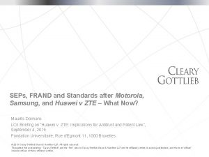 SEPs FRAND and Standards after Motorola Samsung and