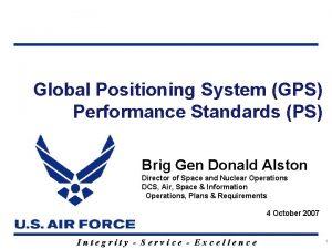 Global Positioning System GPS Performance Standards PS Brig