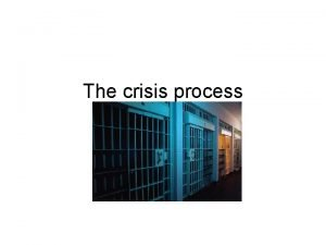 The crisis process Stages of Crisis Stages Recognition