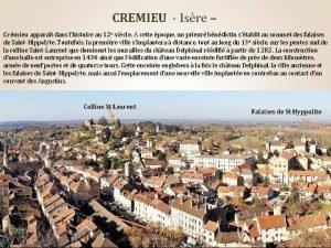 CREMIEU Isre Crmieu apparat dans lhistoire au 12