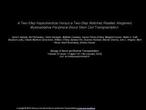 A TwoStep Haploidentical Versus a TwoStep Matched Related