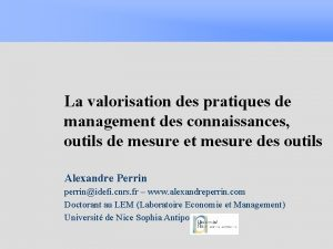 La valorisation des pratiques de management des connaissances