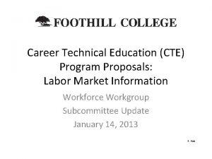 Career Technical Education CTE Program Proposals Labor Market