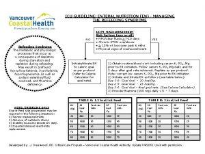 ICU GUIDELINE ENTERAL NUTRITION EN MANAGING THE REFEEDING