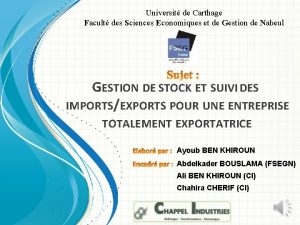 Universit de Carthage Facult des Sciences Economiques et