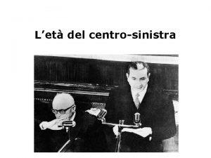 Let del centrosinistra La crisi del 1960 Le