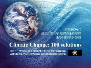 Ayo Climate Change 100 solutions 100 places to