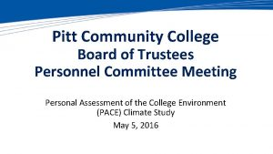 Pitt Community College Board of Trustees Personnel Committee