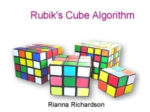 Rubiks Cube Algorithm Rianna Richardson Rubiks Cube Facts