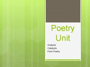 Poetry Unit Analysis Catalysts Form Poetry Opening Qs