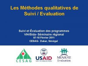 Les Mthodes qualitatives de Suivi Evaluation Suivi et
