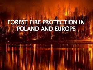 FOREST FIRE PROTECTION IN POLAND EUROPE Content Forest
