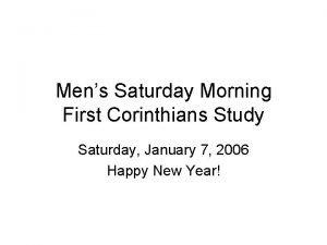 Mens Saturday Morning First Corinthians Study Saturday January