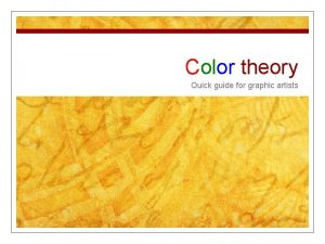 Color theory Quick guide for graphic artists Color