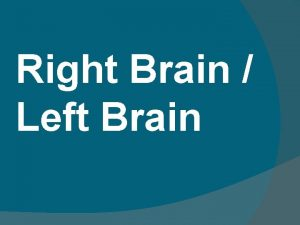 Right Brain Left Brain The Right Brain Left