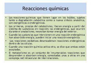 Reacciones qumicas Las reacciones qumicas que tienen lugar