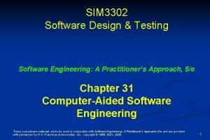 SIM 3302 Software Design Testing Software Engineering A