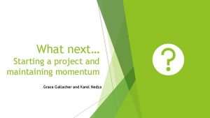 What next Starting a project and maintaining momentum