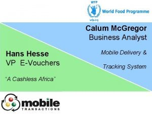 Calum Mc Gregor Business Analyst Hans Hesse VP