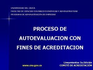 UNIVERSIDAD DEL CAUCA FACULTAD DE CIENCIAS CONTABLES ECONMICAS