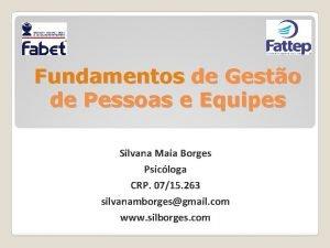 Fundamentos de Gesto de Pessoas e Equipes Silvana
