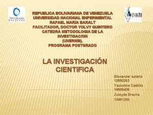 REPUBLICA BOLIVARIANA DE VENEZUELA UNIVERSIDAD NACIONAL ENPERIMENTAL RAFAEL