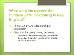 What were the reasons the Puritans were immigrating