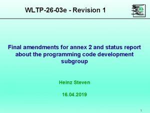 WLTP26 03 e Revision 1 Final amendments for