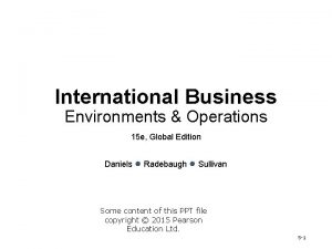 International Business Environments Operations 15 e Global Edition