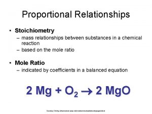 Proportional Relationships Stoichiometry mass relationships between substances in