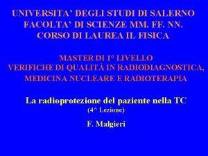 UNIVERSITA DEGLI STUDI DI SALERNO FACOLTA DI SCIENZE