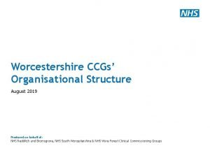 Worcestershire CCGs Organisational Structure August 2019 Produced on