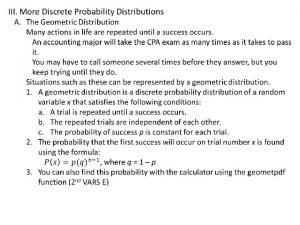III More Discrete Probability Distributions B Poisson Distribution