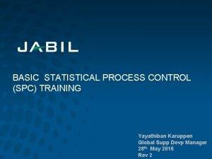 BASIC STATISTICAL PROCESS CONTROL SPC TRAINING Yayathiban Karuppen