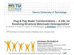 Plug Play Model Transformations A DSL for Resolving